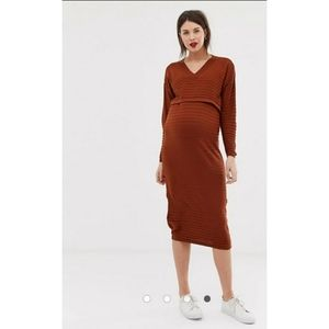 ASOS maternity nursing rust knit midi dress